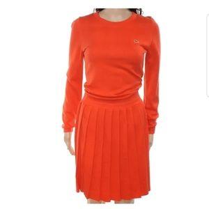 NWT Lacoste Live Orange Pleat Skirt Sweater Dress
